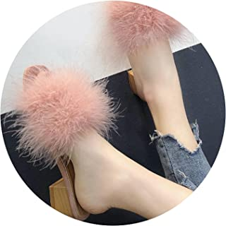 Kingwhisht Furry Slippers Casual Slipper Brief Med High Heels Square Heels Fur Shoes Solid Sandals Peep-Toe