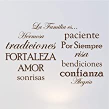 Innovative Stencils Set of 12 Spanish Family Quote Words Vinyl Wall Sticker Picture Frame Wall Family Room Art Decoration La Familia ES #1476 (Matte Brown)