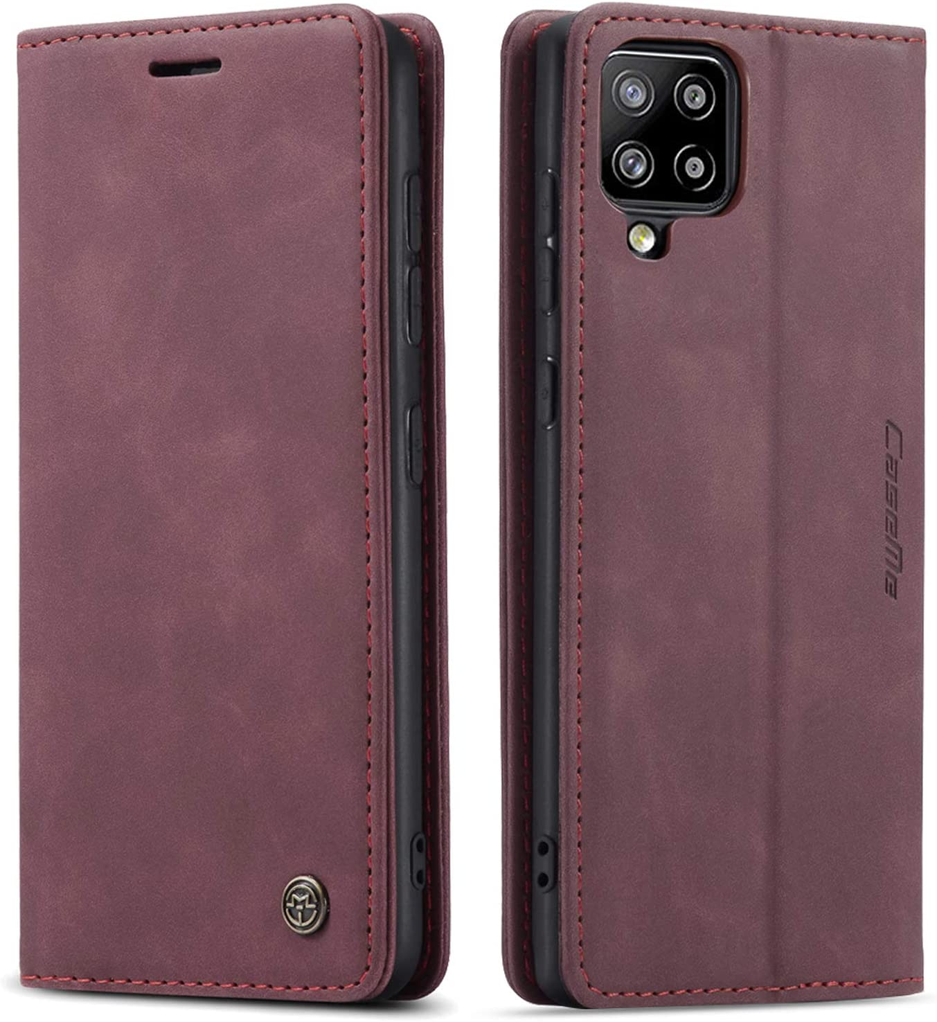 Kowauri Flip Case for Samsung Galaxy A42 5G,Leather Wallet Case Classic Design with Card Slot and Magnetic Closure Flip Fold Case for Samsung Galaxy A42 5G (Wine red)