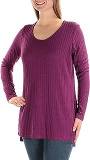 KENSIE Womens Purple Textured Slitted Long Sleeve Jewel Neck Top US Size: M