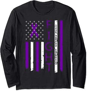 Cystic Fibrosis Awareness Ribbon American Flag Shirt Long Sleeve T-Shirt