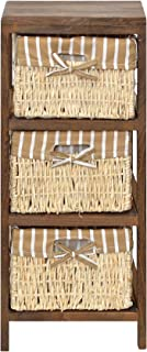 ts-ideen Armario rústico con 3 cajones, diseño Retro, Color marrón y Beige