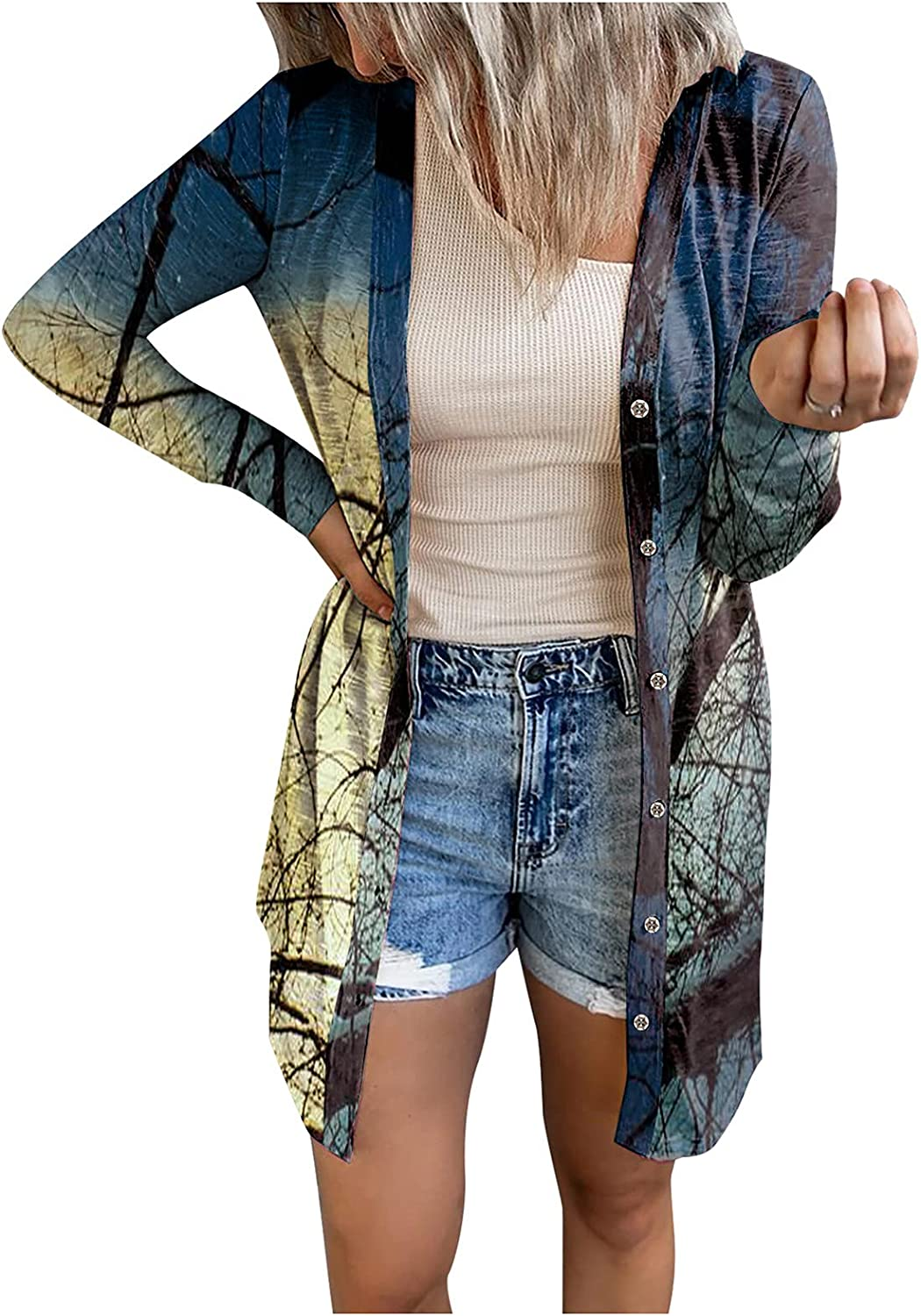 Womens Cardigan Halloween Open Front free shipping St Miami Mall 2021 Cardigans Coat Cozy