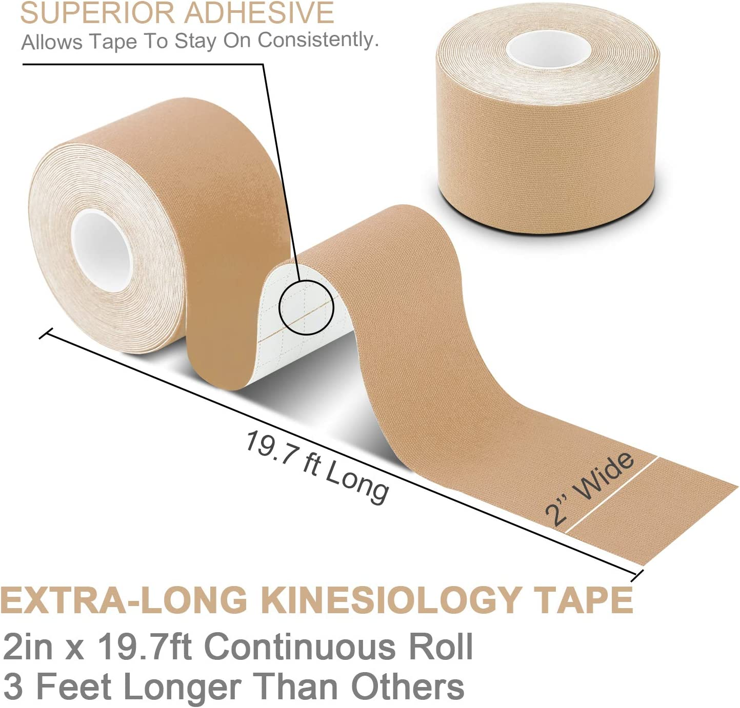 Breathable Free Taping Guide Water Resistant Sports Tape for Muscles /& Joints Pain Relief and Injury Recovery Latex Free Physio Tape 19.7ft Uncut Per Roll, 3 Rolls Laneco Kinesiology Tape