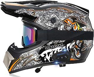Motorcycle Bluetooth Helmet, Motocross Street Racing Off Road Helmet Set, Double Sport Downhill Full Face Helmet, DOT Cert...