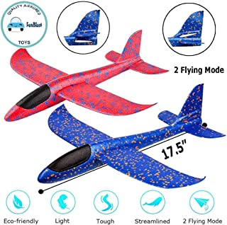 """FunBlast Airplane Toy Set of 2 - 17.5"""" Large Throwing Foam Plane, Dual Flight Mode, Aeroplane Gliders, Flying Aircraft, Gifts for Kids, 3 4 5 6 7 Year Old Boy