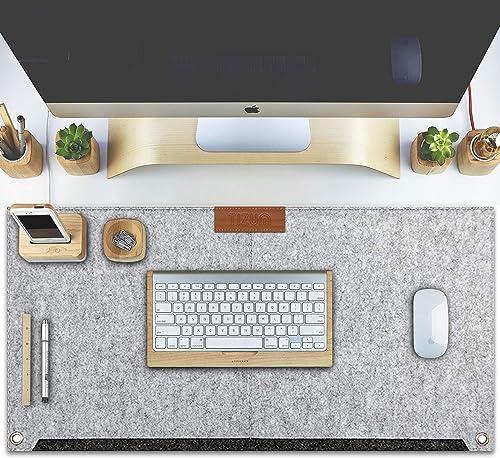 Tizum Z57 Large Felt Desk Mat Mouse Pad for Office & Gaming with 2 Pockets – 635 * 330 mm (Light Grey)