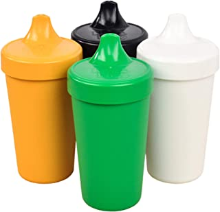 Re-Play Made in The USA 4pk No Spill Sippy Cups for Baby, Toddler, and Child Feeding - Kelly Green, Sunny Yellow, White, Black (St. Patrick's Day+)