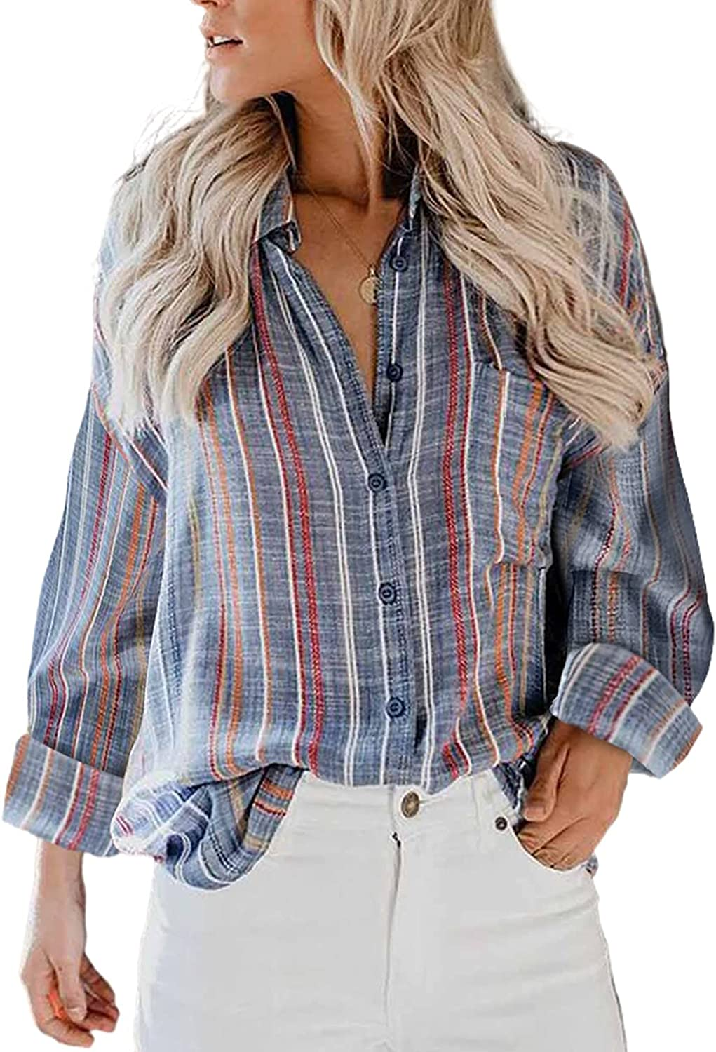 BLENCOT Women Button Down Blouses V Neck Striped Shirts Roll up Long Sleeve Casual Tops S-2XL
