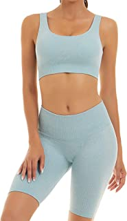 Toplook Women Seamless Ribbed Yoga Outfits 2 Pieces Gym Bike Shorts + Sport Bra