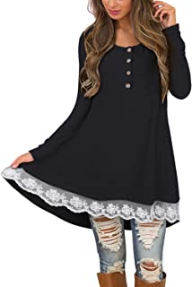Women's Long Sleeve Round Neck Lace Tunic Top Button Up Henley Shirts Casual Blouse Dress for Leggings