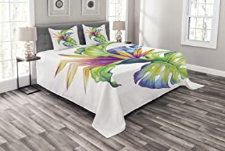 Ambesonne Plant Bedspread, Tropical Leaves and Monstera with Abstract Color Scheme Hawaiian Floral Elements, Decorative Quilted 3 Piece Coverlet Set with 2 Pillow Shams, King Size, White Green