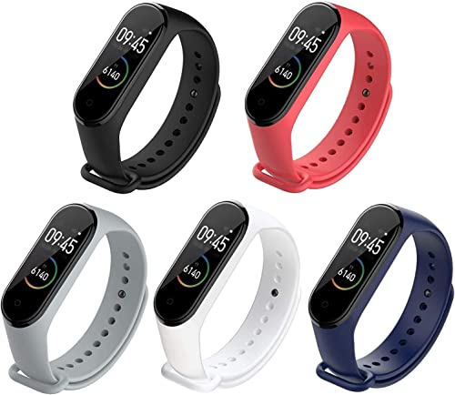 Adlynlife Band Strap for Mi Band 3 / Mi Band 4 Wristband Silicone Strap (Pack of 5)