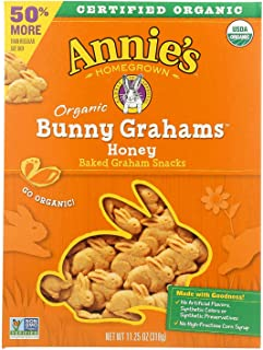ANNIE'S HOMEGROWN, BUNNY GRAHAMS, OG2, HONEY, Pack of 6, Size 11.25 OZ - No Artificial Ingredients 95%+ Organic