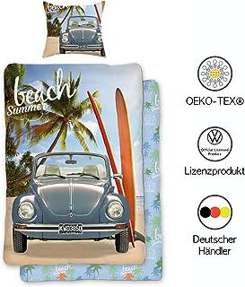 VW Käfer Bettwäsche 135x200 cm Baumwolle   VW Wendebettwäsche-Set mit Reißverschluss   Öko-Tex Standard 100 Deutsche Standardgröße