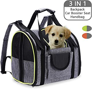 Lovinouse 3 in 1 Pet Carrier Backpack, Folding Dog Car Seat, Airline Approved, Breathable Two-Sided Entry Pets Travel Bag for Small Cats and Dogs