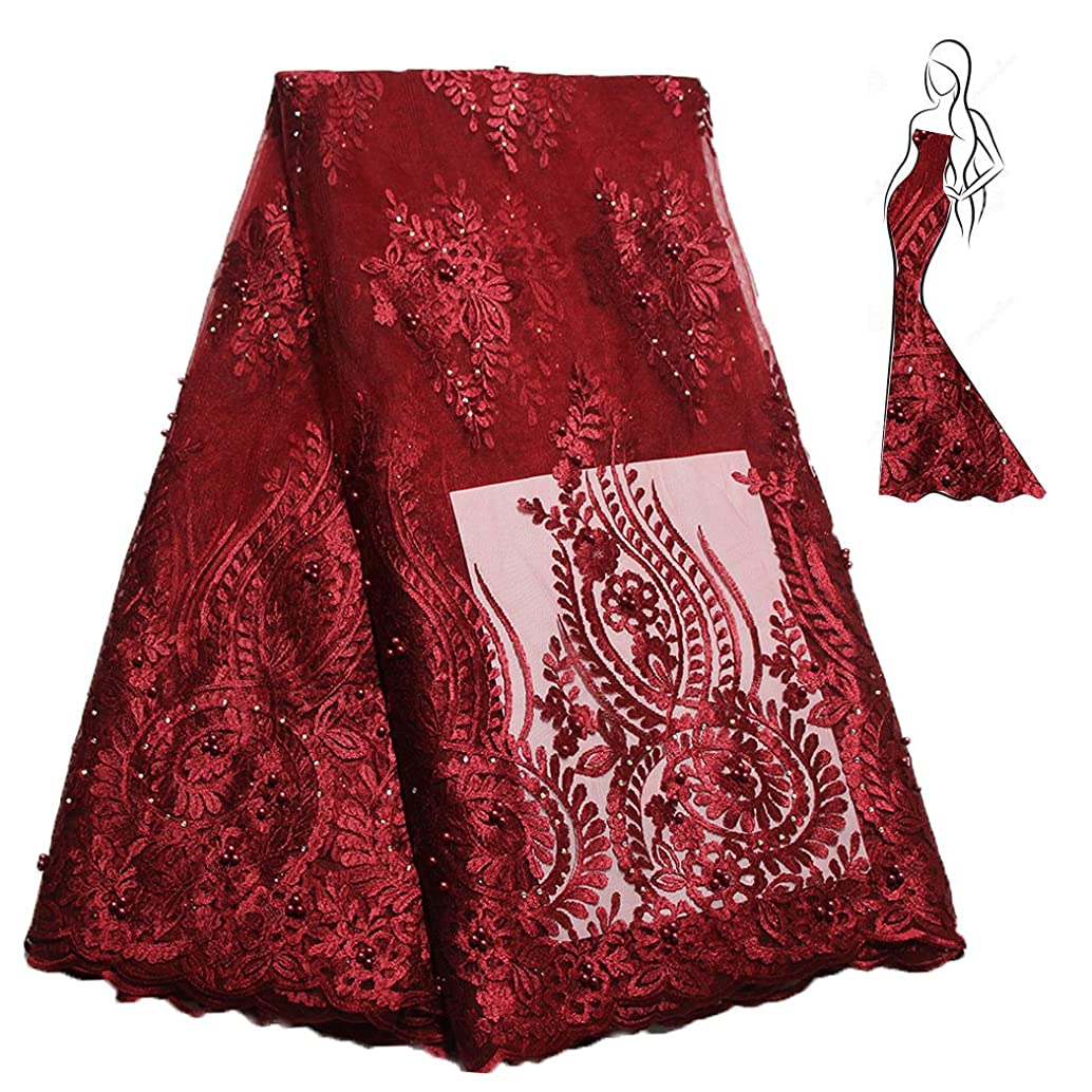 African Lace Fabric Nigerian French Lace Net Fabric Embroidered Fabric for Wedding Party ZS727(Wine)