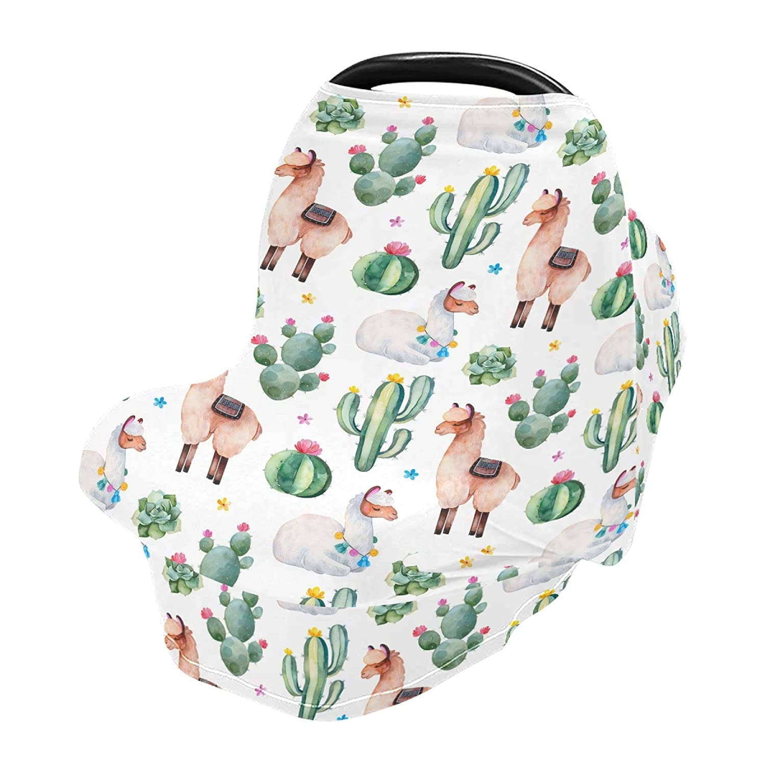 Baby Car Seat Covers for Newborns - Stretch 360 Coverage Infant Carseats Covers Nursing Poncho Breastfeeding Scarf Stroller Canopy Green Watercolor Cactus and Cute Llama