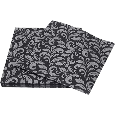 Amazon Com Simulinen Disposable Dinner Napkins Decorative Black Silver Cloth Like Soft Absorbent Durable 16 X16 Pack Of 50 Home Kitchen