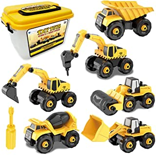 Mumfactory Take-Apart Construction Vehicles Excavators Truck Toy with Storage Box, 6 in 1 DIY Building Educational Gift To...