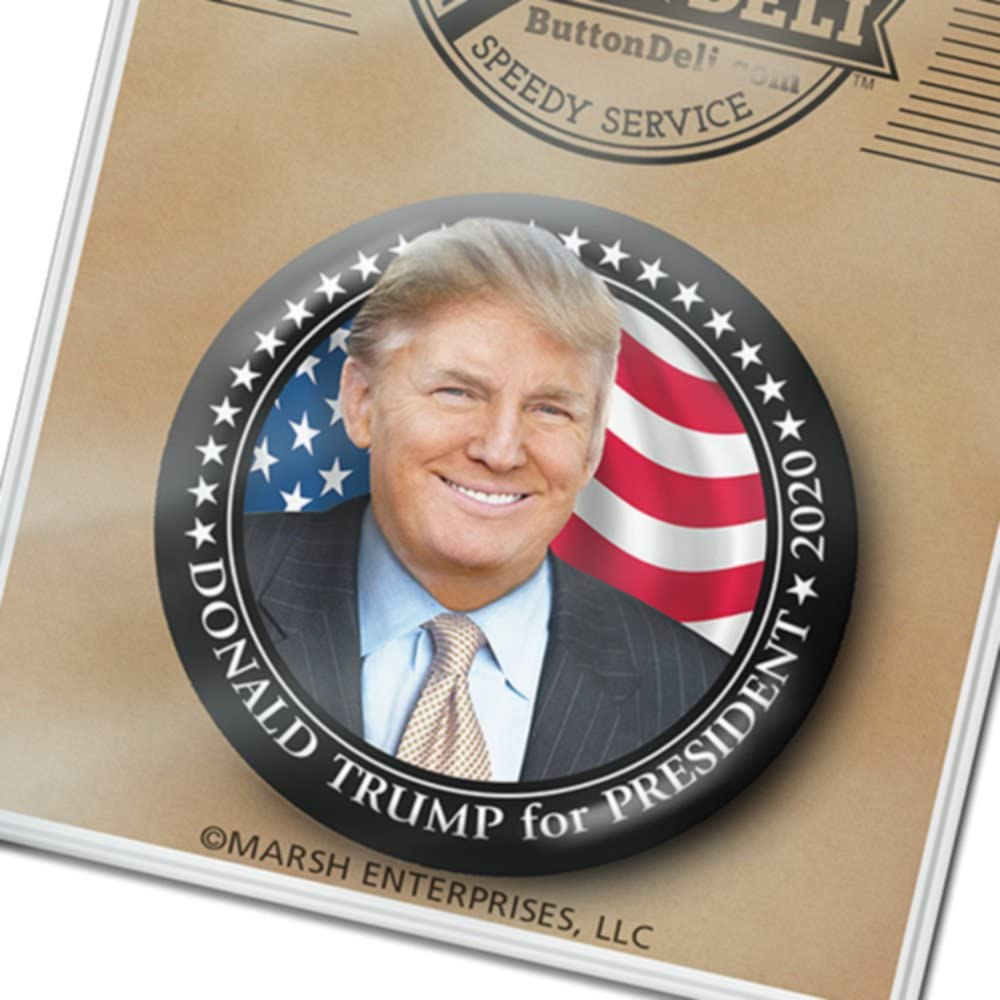 Donald Trump Button - 3 inch Low price Black Photo Pin C Popular brand in the world Border 2020 Metal