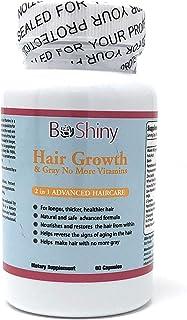 Vitaminas para el crecimiento del cabello con biotina. Producto exclusivo No More Grey Hair para mujeres para cabello más ...