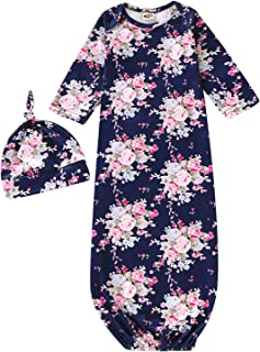 Newborn Girls Isn't She Lovely Floral Nightgowns Long Sleeve Outfits with Hat and Headband
