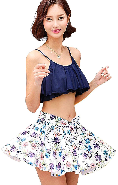 水着 レディース ビキニ 3点セット スカート フレアトップ バンドゥ 花柄 体型カバー 可愛い セクシー