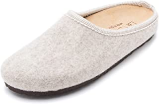 Le Clare Nebraska Women's Wool Felt Clog House Slippers with Arch Support Cork Insole Indoor Outdoor Sole