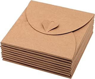 20 Pack Retro Love Kraft CD DVD Sleeves Paper Envelopes with Heart Button for Wedding Party 5.1