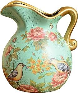 """ufengke Vase en Céramique Style Pastoral Européen,Vase Oiseau et Fleur,Vase Décoratif Fait Main pour Mariage,Hauteur 6.5""""(16.5cm)"""