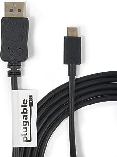 Plugable USB-C - DisplayPort 変換ケーブル 1.8m、2018 iPad Pro、2018 MacBook Air、2017/2018 MacBook Pro、Surface Book 2、その他の USB C または Thunderbolt 3 ポート搭載システム用(4K 3840x2160@60Hz に対応)