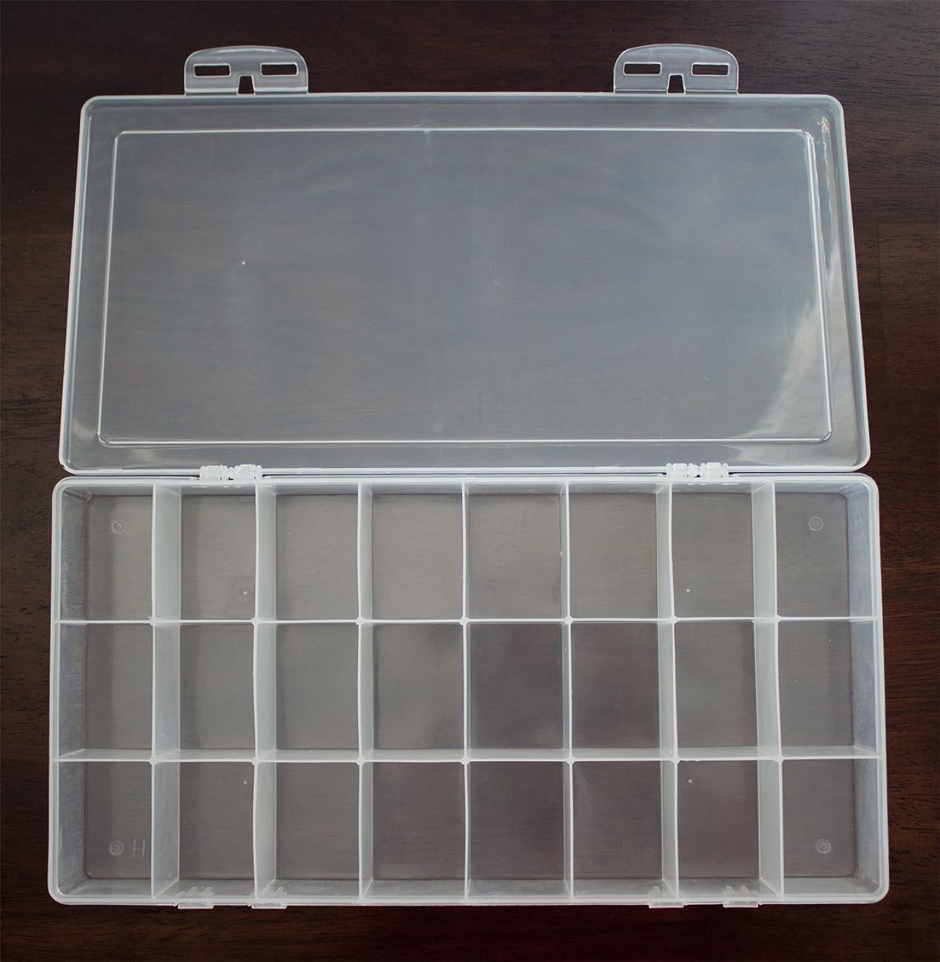 Rectangular Transparent Plastic Watercolor Palette Box, Jewelry Box Multi Purpose Organizer Storage Container (24 rectangular wells)