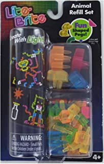 Unbranded LITE-Brite Refill Set Animals 50 Pegs 8 Reusable Templates Light Bright Nib Buyer's Choice