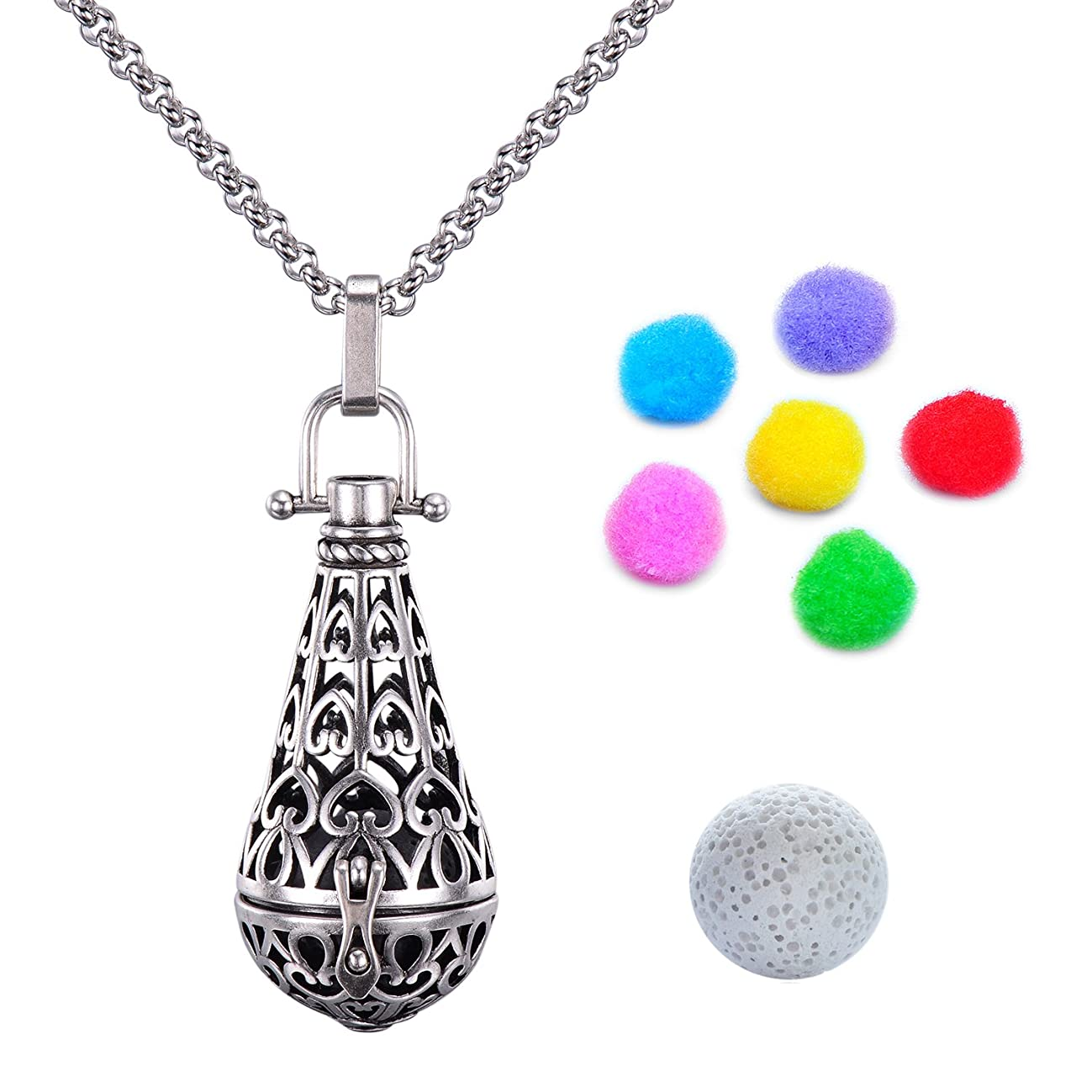 Candyfancy Antique Silver Locket Pendant Aromatherapy Essential Oil Diffuser Necklace 30