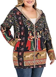 Womens Vintage Coat Ethnic Print Long Sleeve Hoodie Cotton Fleece Jacket Warm Zip Up Pocketed Overcoat