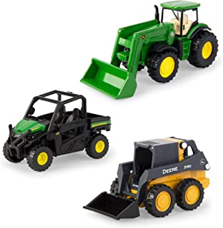 ERTL Iron John Deere Tractor, Gator and Skid Steer Toys 1:64 Scale (Pack of 3)