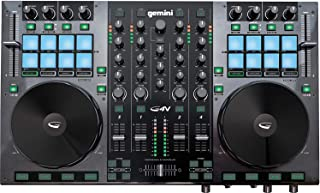 Gemini GV Series G4V Professional Audio 4-Channel MIDI Mirtable Virtual Controller DJ با چرخ حسگر لمسی و مانیتور LED