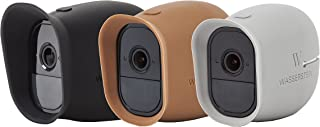 3 x Silicone Skins for Arlo Pro Smart Security - 100% Wire-Free Cameras by Wasserstein (3 Pack, Black/Brown/Grey)