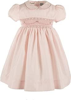 Carriage Boutique Girls Elegant Taffeta Pink Short Sleeve Dress