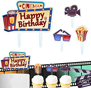 Cinema Happy Birthday Cake Topper Decorations with Popcorn for Movie Theme Picks Hollywood Party Decor Supplies