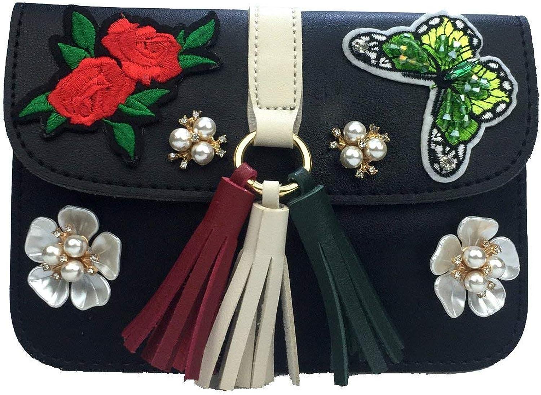 Ladies Handbag Crossbody Bag Butterfly Diamond Mobile Phone Bag Crossbody Bag Chain Leisure Female Bag (color   Black)