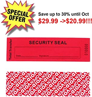 100 Total Transfer Tamper Proof Security Warranty Void Stickers/Labels/Seals (Red, 35x120 mm, Serial Numbers - TamperSTOP)