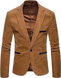 ZhiYuanAN Giacca Da Uomo In Velluto A Coste Slim Fit Blazer Un Pulsante Smart Coat Tinta Unita Casual Business Cappotto Gi...
