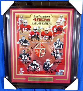 San Francisco 49ers Hall of Famers Autographed Framed 16x20 Photo With 10 Signatures Including Joe Montana, Jerry Rice & Steve Young PSA/DNA