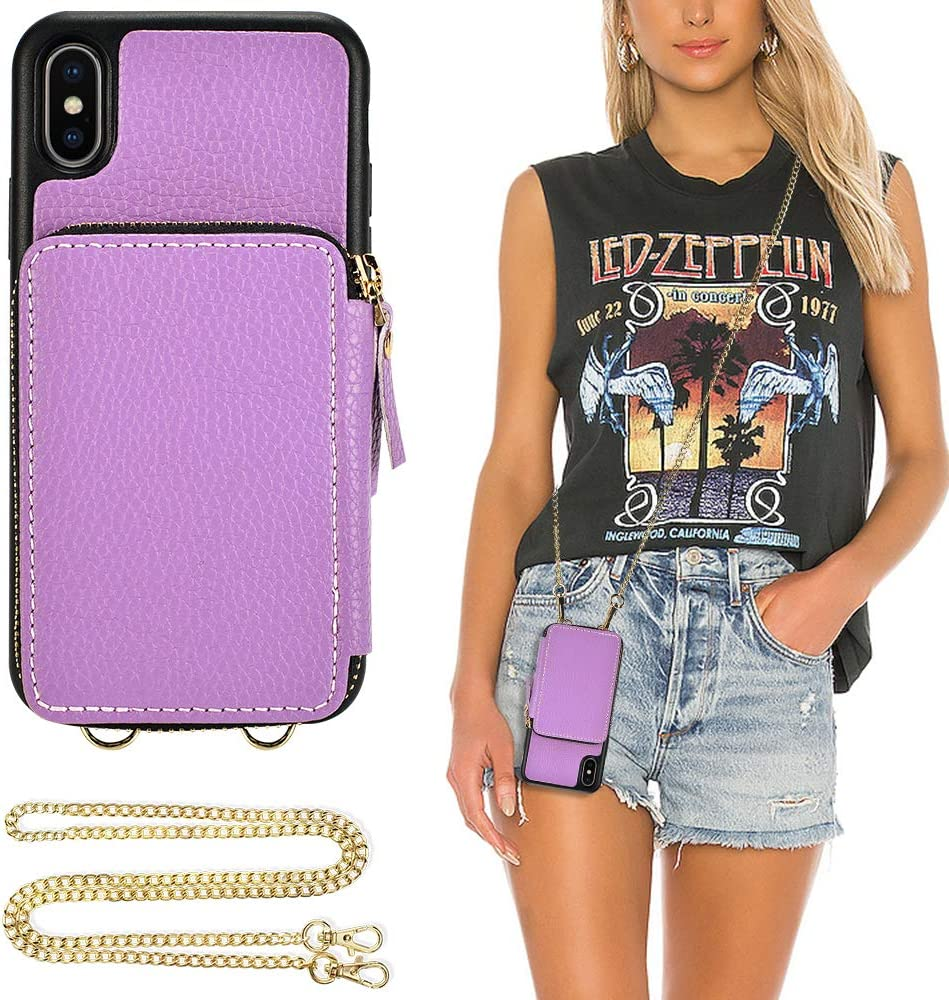 iPhone X Wallet case, ZVE iPhone Xs Case with Credit Card Holder Slot Crossbody Chain Wristlet Handbag Purse Protective Zipper Leather Case Cover for Apple iPhone Xs and X, 5.8 inch - Light Purple