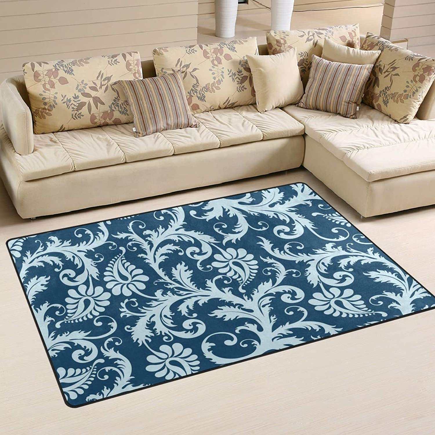 FANTAZIO Area Rug Accessories bluee European Flowers Entry doormats for Corners and Edge Anti-Curling Ideal Rug Stopper 31x20in 60x39in