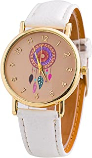Vavna New Fashion Women's Dream Catcher Colorful Windbell Pattern Leather Dress Watch Gift