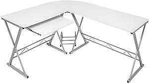 TecTake Bureau Table à ordinateur en coin meuble d'angle PC poste de travail 170 x 135 x 75 cm - diverses couleurs au choix - (Blanc | no. 402405)