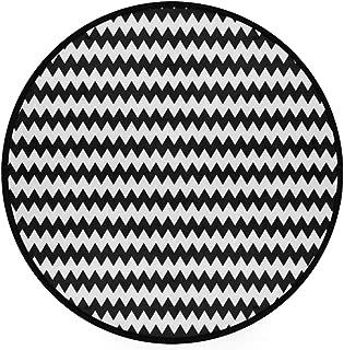 YOLIKA Home Decor Light Round Area Rug, Chevron Zigzags Black and White Print ,Super Soft Circle Carpet (4'Diameter)